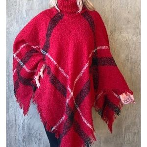 Sweaters - Turtle Neck Poncho with Tassel
